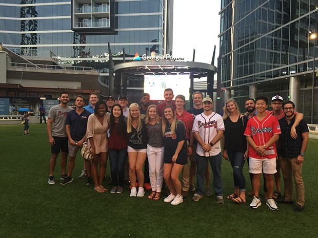Students of Southern Company Georgia Chapter in front of the Georgia Power Pavilion at Sun Trust Park.
