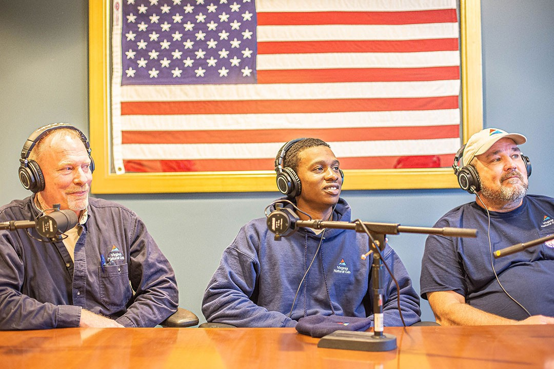 Virginia Natural Gas employees recording podcast