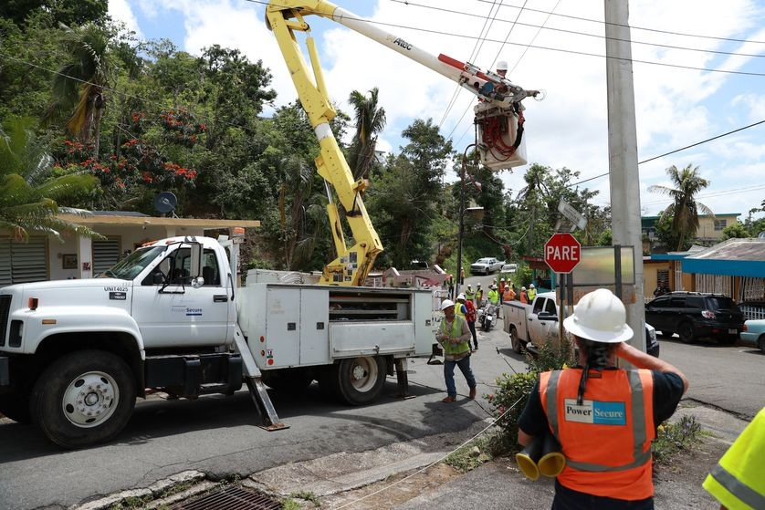 Repairing damaged power lines required tremendous manpower.