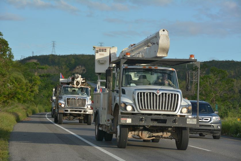 Linemen arrived on the island and immediately went to work to restore power.