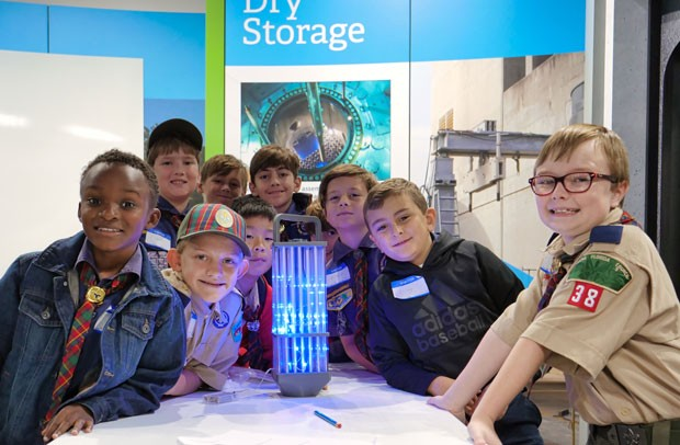 A Dothan Cub Scout Troop worked together to assemble a mocked-up version of a nuclear fuel assembly during Nuclear Science Week.