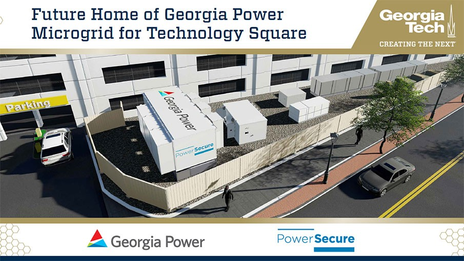 Slide with words: Future Home of Georgia Power Microgrid for Technology Square and logos: Georgia Power and PowerSecure. Image is of microgrid trailers in front of parking deck